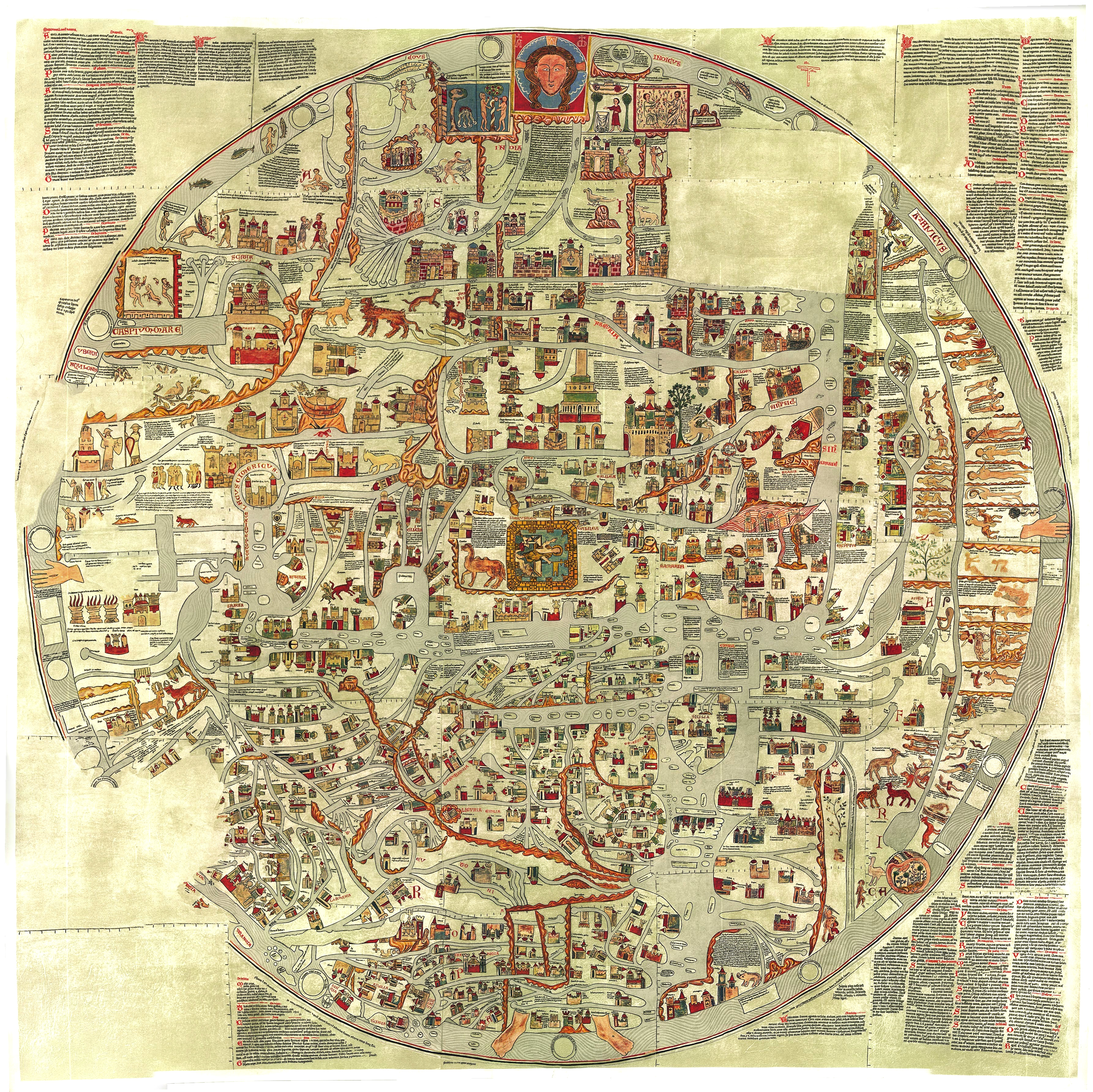 Ebsorfer Stich, example of a Mappa Mundi, a medieval European map of the world